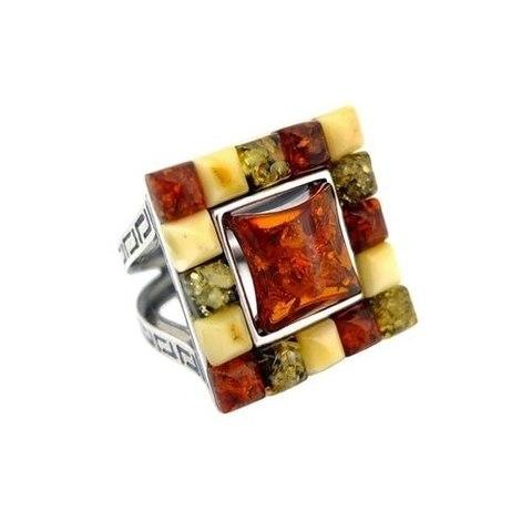 стильное серебряное кольцо с янтарём