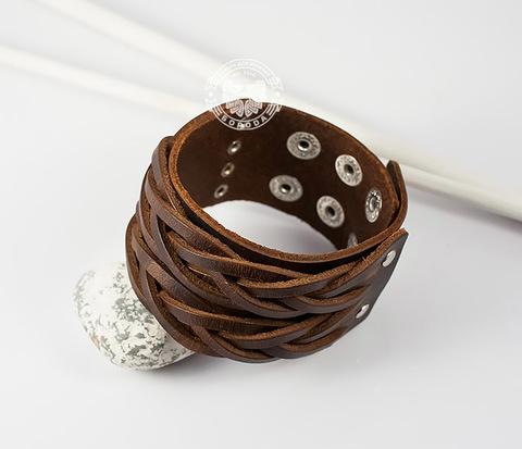 BL374 Широкий кожаный браслет на кнопках (17-20 см)