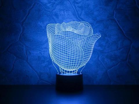3D ночник Бутон розы