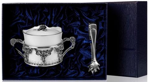 Набор серебряная сахарница «Роза» с крышкой