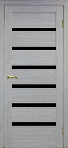 > Экошпон Optima Porte Турин 507.12, стекло лакобель чёрное, цвет дуб серый, остекленная