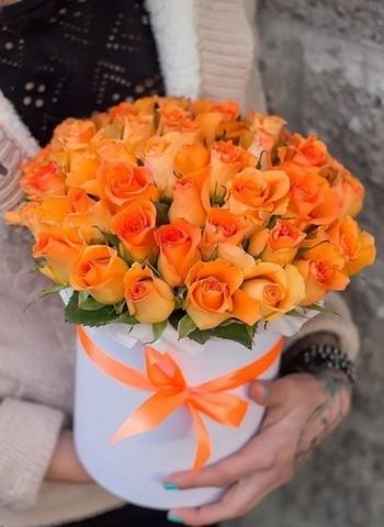39 роз в шляпной коробке #1546