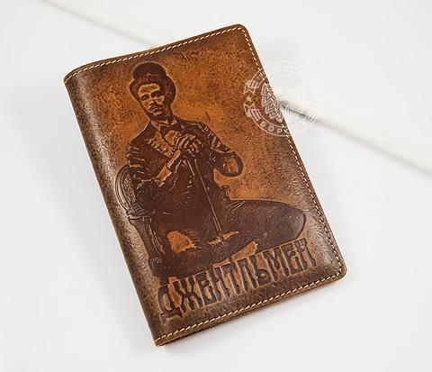 BY14-02-03 Стильная кожаная обложка на паспорт для настоящего джентльмена