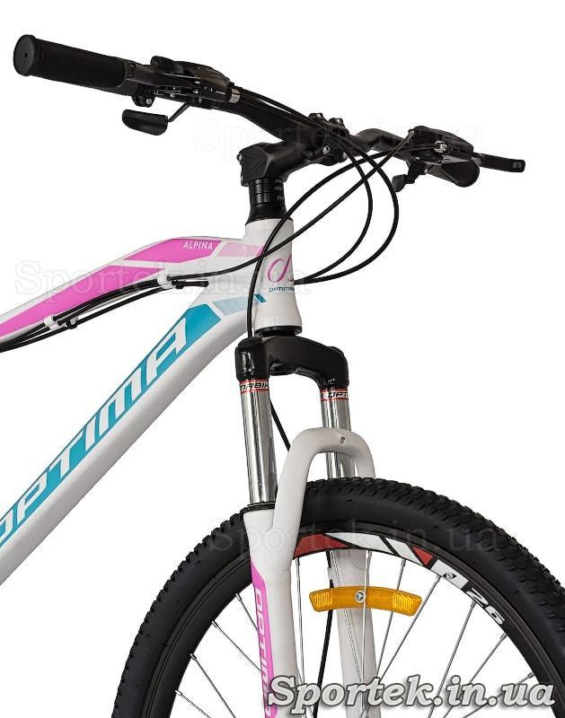 Амортизационная вилка, колесо и руль горного женского велосипеда Optimabikes Alpina DD