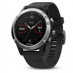 Умные мужские спортивные часы Garmin Fenix 5 - серебристые с черным ремешком 010-01688-03