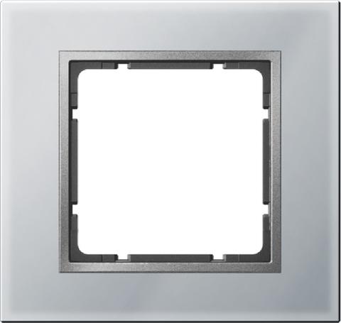 Рамка на 1 пост стекло. Цвет Алюминий. Berker (Беркер). B.7. 10116414