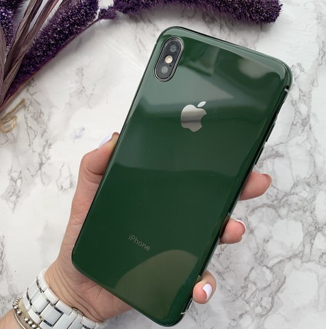 Чехол iPhone XS MAX Glass Silicone Case Logo /green/