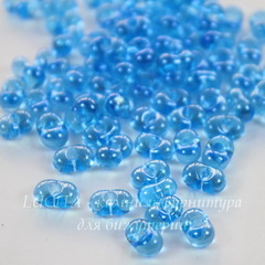 66010/ Бисер Preciosa Фарфаль (Farfalle) 6,5х3,2 мм прозрачный блестящий голубой