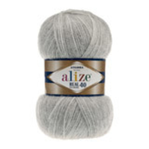 Пряжа Angora real 40 Alize 614 Серый меланж - фото