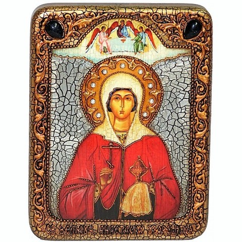 Инкрустированная Икона Святая великомученица Анастасия Узорешительница 20х15см на натуральном дереве, в подарочной коробке