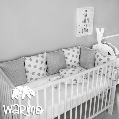 Набір бортиків-подушок в ліжечко 30x30см ЗІРОЧКИ