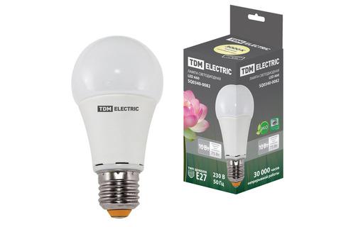 Лампа светодиодная А60 - 10 Вт-220 В -3000 К–E27 TDM