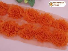 Шифоновые шебби-розы оранжевые диаметр 6 см