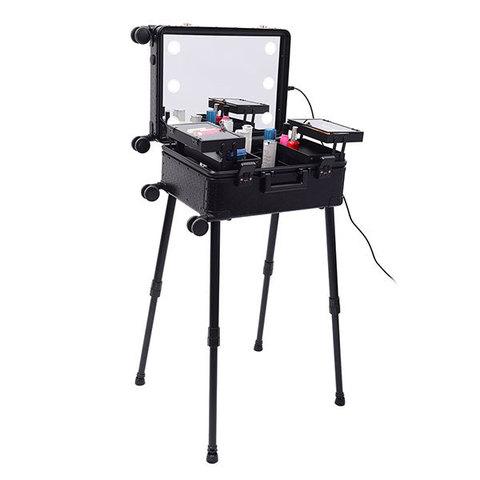 Бьюти кейс визажиста на колесиках (мобильная студия) LC036 Premium Black