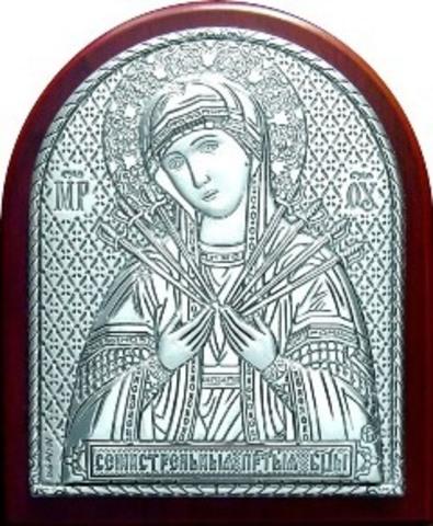 Серебряная икона Божией Матери Семистрельная 8,5х7см