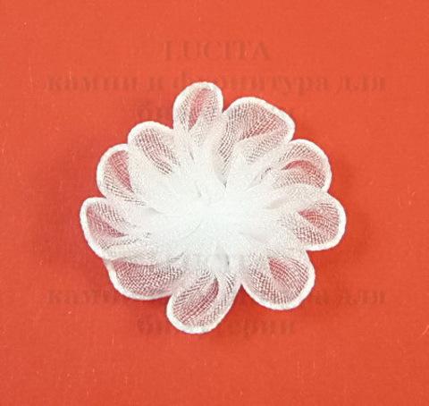Цветочек белый из органзы 28 мм