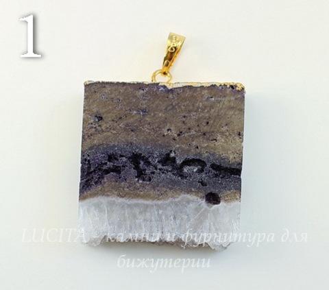 Подвеска Агат с друзой с фольгой (цвет - золото) (№1 (43х38 мм))
