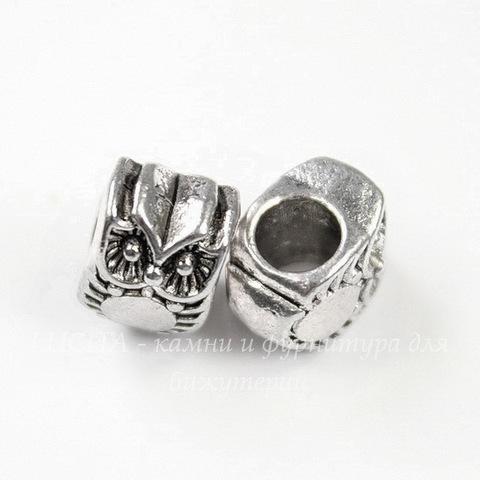 """Бусина металлическая для пандоры """"Сова"""" 10х8 мм (цвет - античное серебро)"""