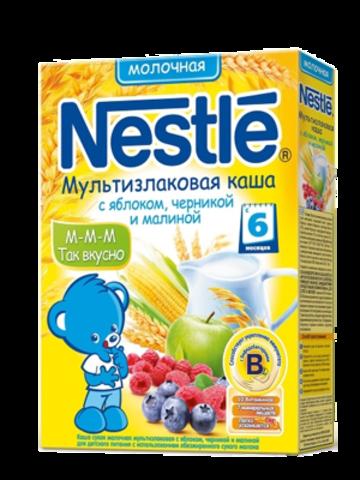 Nestlé® Мультизлаковая каша с яблоком, черникой и малиной 250гр