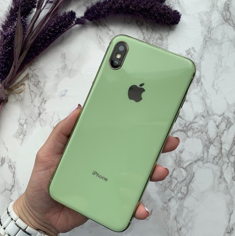 Чехол iPhone XS MAX Glass Silicone Case Logo /mint gum/