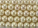 Нить бусин из жемчуга пресноводного культивированного белого, класс А, шар гладкий 10-11 мм