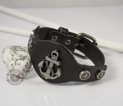 BL367 Мужской кожаный браслет с металлическим якорем