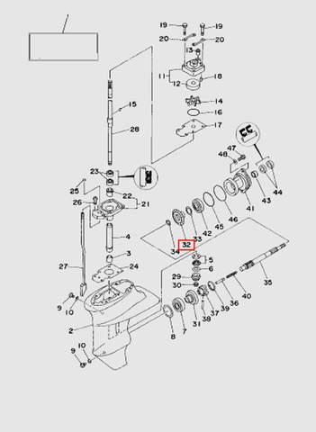 Шестерня задней передачи  для лодочного мотора T15, OTH 9,9 SEA-PRO (16-32)