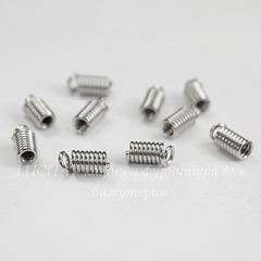 Пружинка для шнура 2 мм, 9х3,5 мм (цвет - платина), 10 штук
