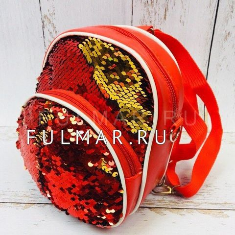 Рюкзак-сумка Трансформер с пайетками Хамелеон Красный