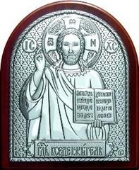 Серебряная икона Иисуса Христа Спасителя 8,5х7см