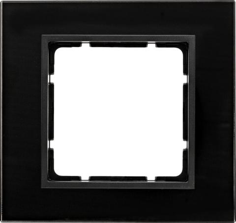 Рамка на 1 пост стекло. Цвет Чёрный. Berker (Беркер). B.7. 10116616
