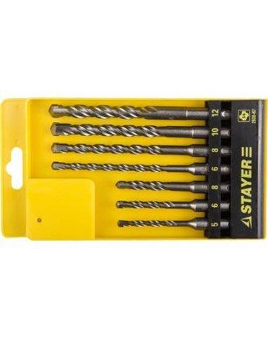 STAYER Набор буров SDS-plus 7 шт: 5 x 110, 6 x 110, 8 x 110, 6 x 160, 8 x 160, 10 x 160, 12 x 160 мм, Professional