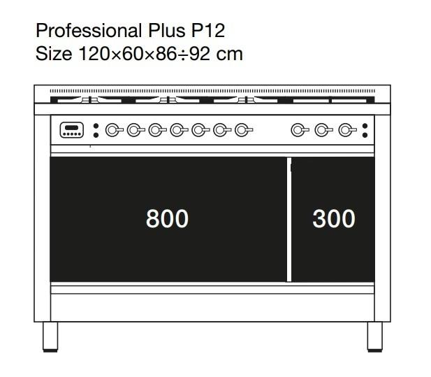 Газовая плита ILVE P127NE3, фурнитура бронза