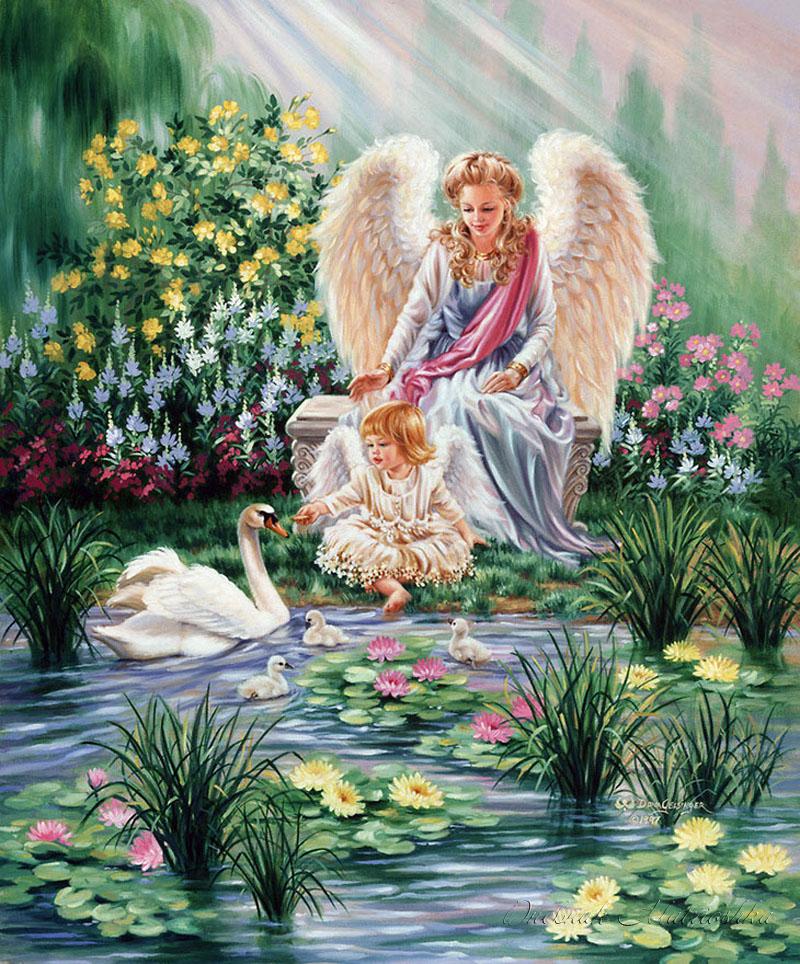 Картина раскраска по номерам 30x40 Игра с лебедями в ...