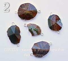 Коннектор (1-1) Агат с огранкой с фольгой (цвет - серебро)