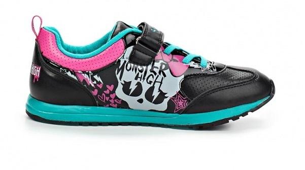 Кроссовки Монстер Хай (Monster High) на липучке для девочек, цвет черный