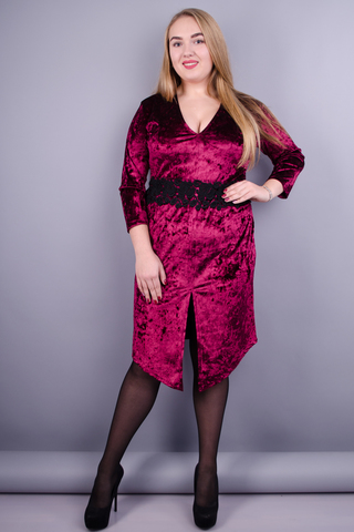 Рубин. Нарядное платье для дам с пышными формами. Бордо.