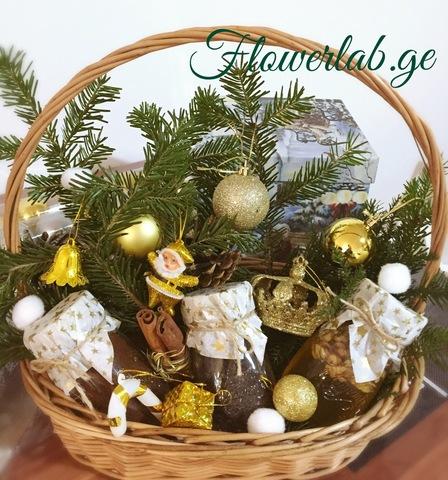 Корзина новогодняя золотая
