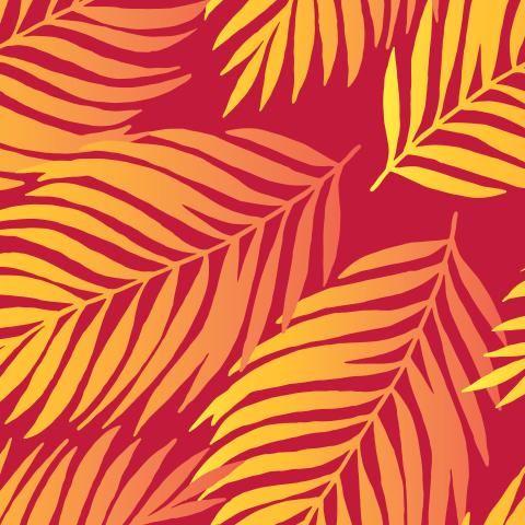 Пальмовые листья на красном