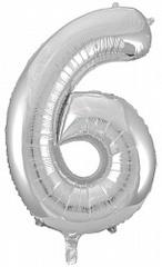 Шар (34''/86 см) Цифра, 6, Серебро, 1 шт.