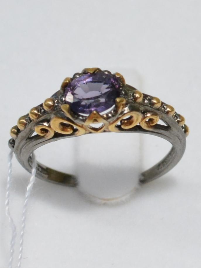 Шпинель (серебряное кольцо с позолотой)