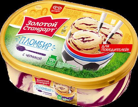 """Мороженое """"Золотой стандарт"""" пломбир с черникой, 500 г"""