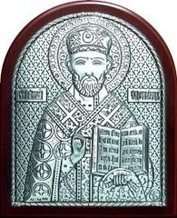 Серебряная икона святителя Николая Чудотворца (Угодника) 8,5х7см