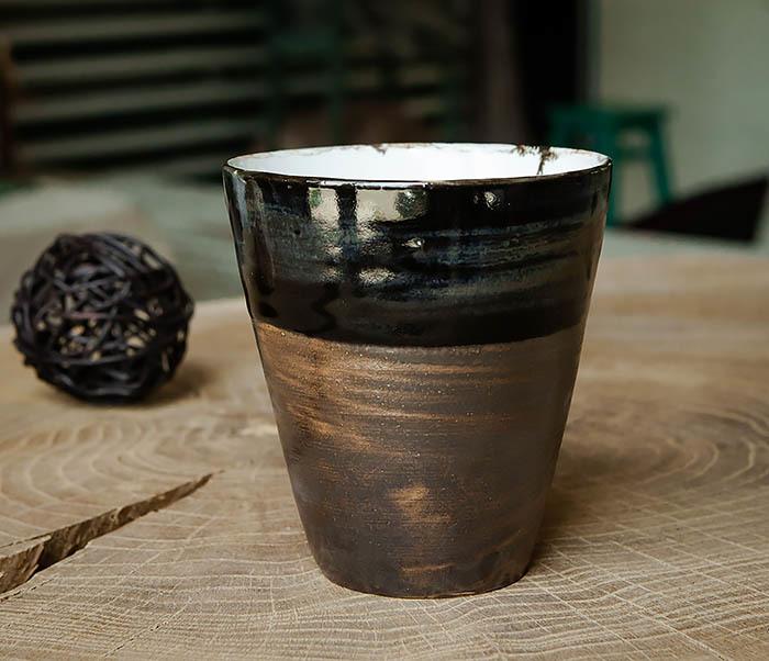 CUP105-2 Крупный керамический стакан ручной работы фото 01