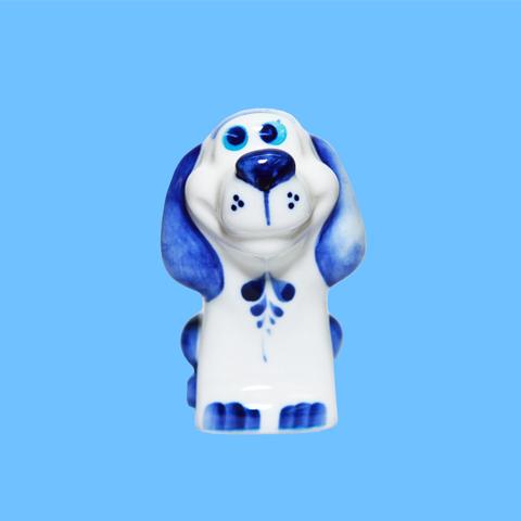 Статуэтка фарфоровая собака Крендель кобальт 7см