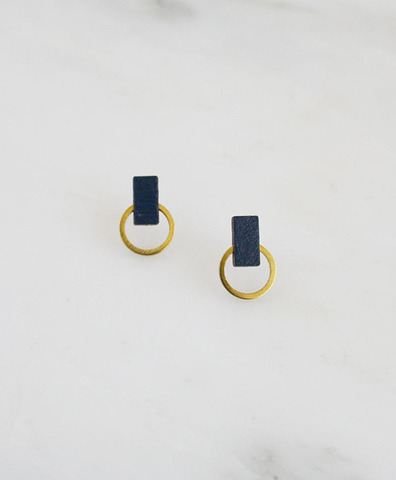 Серьги Orbit Studs Blue