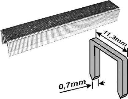 Скобы для степлера закалённые прямоугольные 11,3 мм х 0,7 мм  (узкие тип 53)  8 мм, 1000 шт. FIT 31408