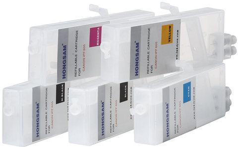 Комплект дозаправляемых картриджей для Canon iPF500, iPF510, iPF600, iPF605, iPF610, iPF700, iPF710, iPF720, iPF750. 5 штук - необходимо использовать чипы с оригинальных картриджей!