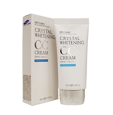 Осветляющий СС крем для лица 3W CLINIC Crystal Whitening CC Cream SPF 50/PA+++ (natural beige), 50 гр