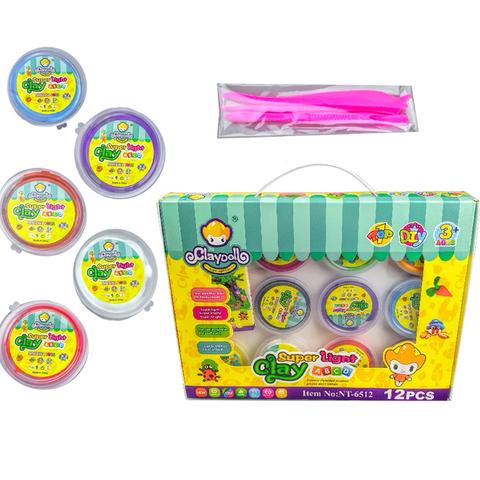Разноцветный пластелин CLAY DOLL в индивидуальной упаковке (Средний) 1кор*1бл*12шт